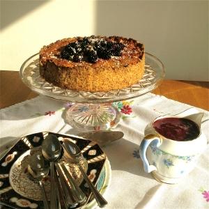 Blackberry and coconut macaroon tart